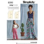 8390 Simplicity Pattern: Girl's and Misses' Tie Front Trousers